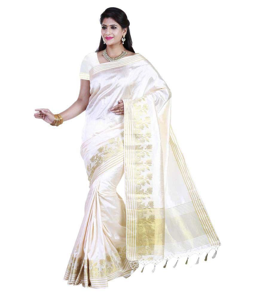 Womantra Beige Tussar Silk Saree
