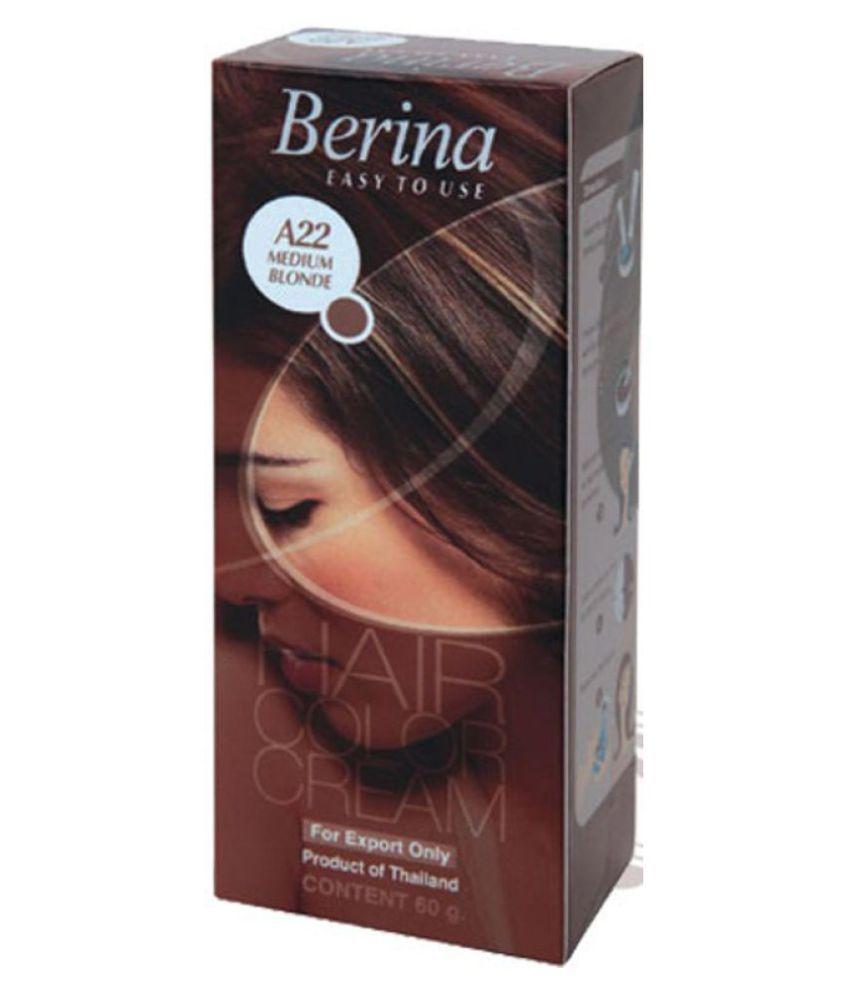BERINA HAIR CCOLOR CREAM A22 MEDIUM BLONDE Permanent Hair Color Light Blonde 60 gm