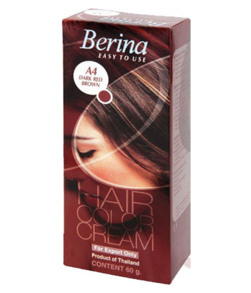 BERINA HAIR CCOLOR CREAM A4 DARK RED BROWN Permanent Hair Color Brown 60 gm