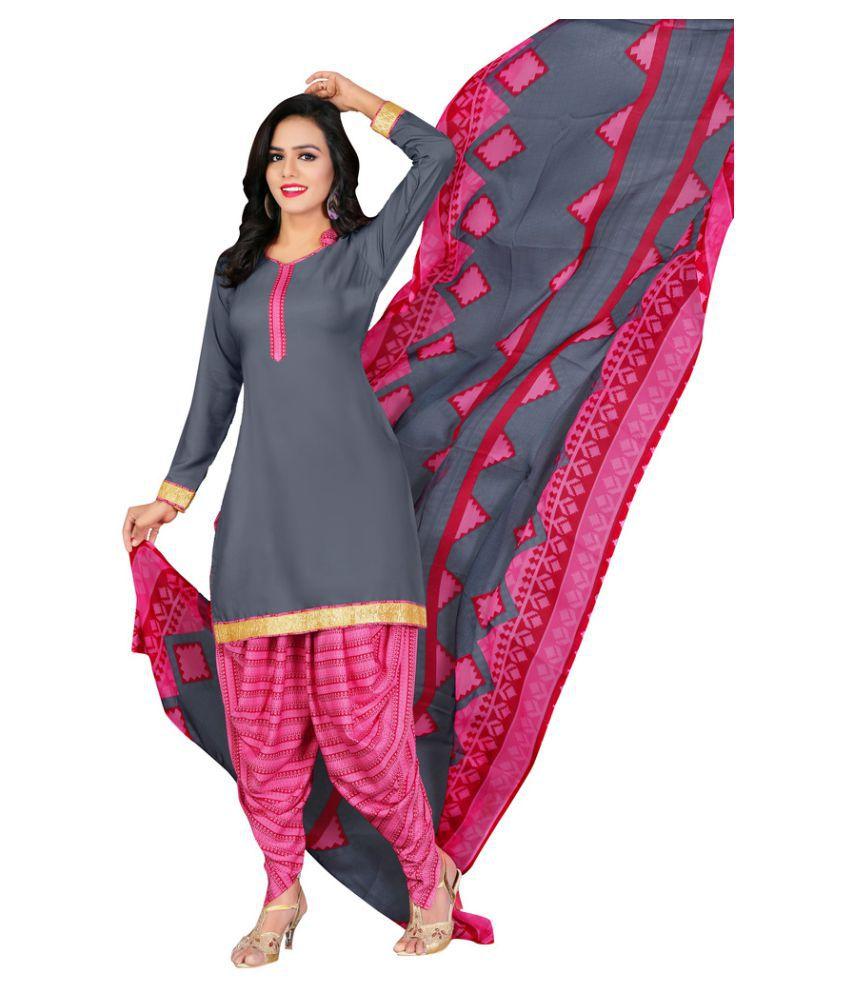 Urban Naari Grey Crepe Dress Material