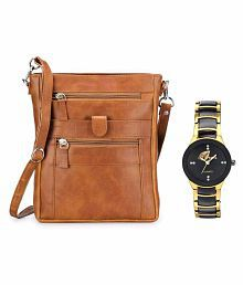 Arum Brown Sling Bag With Multicolour Golden Watch