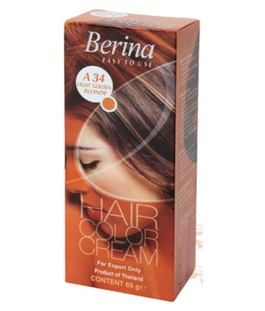 BERINA HAIR CCOLOR CREAM A34 LIGHT GOLDEN BLONDE Permanent Hair Color Light Blonde 60 gm