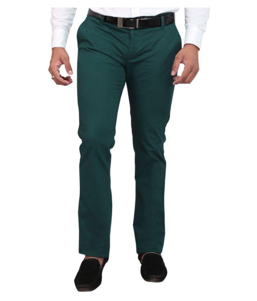 DRM Apparels Green Regular Flat Trousers