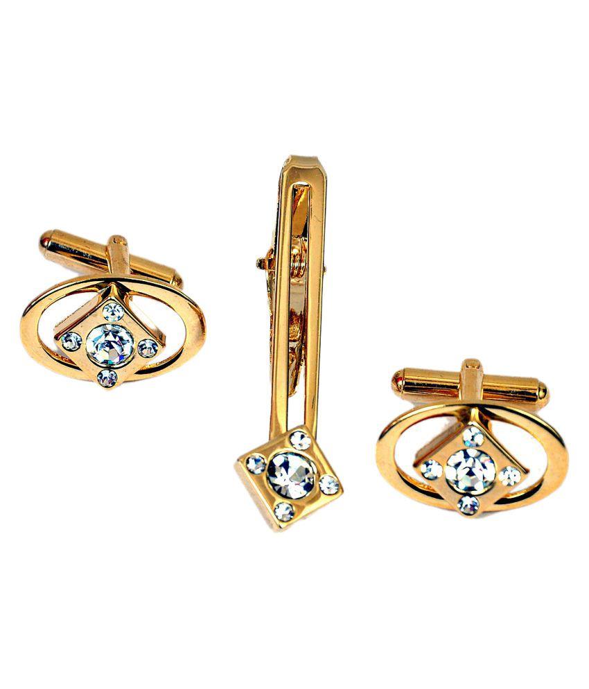 Cufflinks And Tie Pin,Men Jewellery Golden Cuff Links & Tie Pin Combo