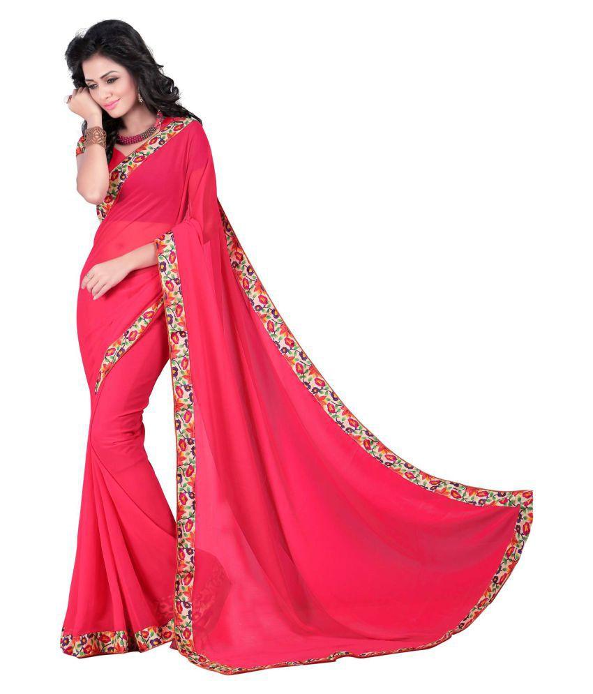Shree Sainath Creation Pink Chiffon Saree
