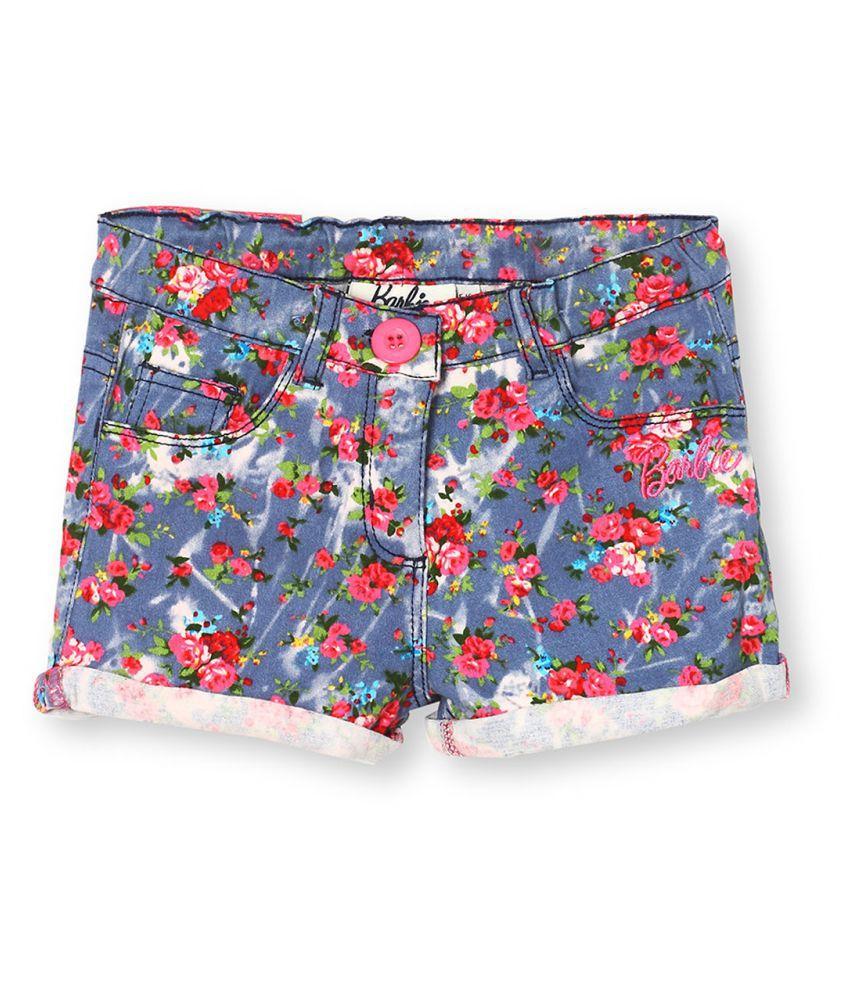 Barbie Distress Denim Floral Print Turn Up Shorts