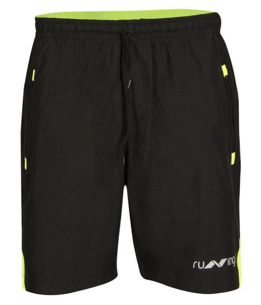 Nivia Black Green Running Shorts
