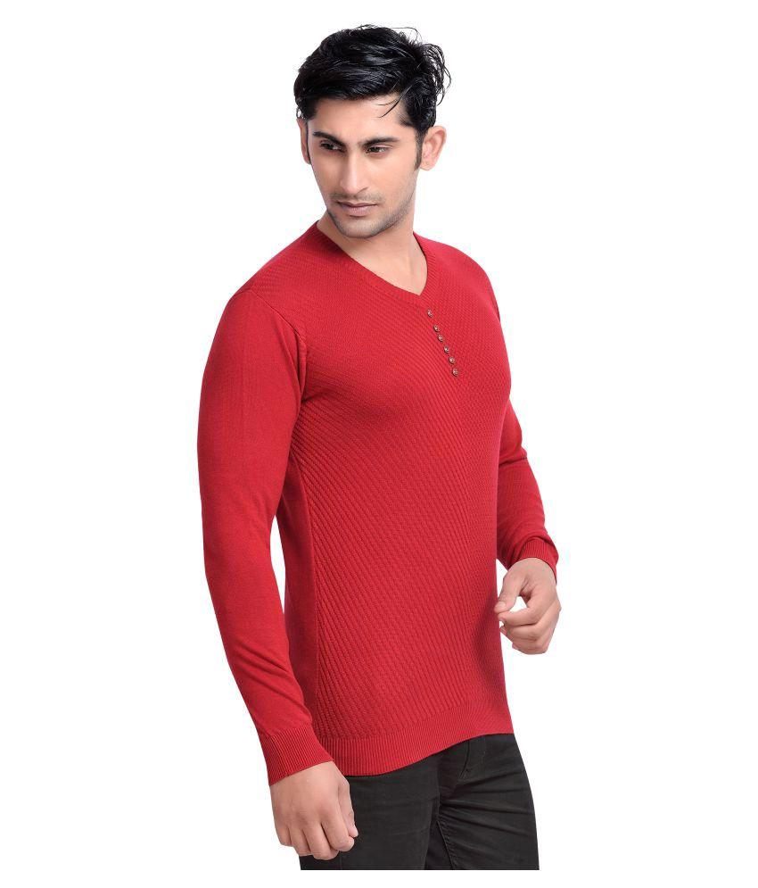 Rekha Fashion Hub Red V-Neck T-Shirt