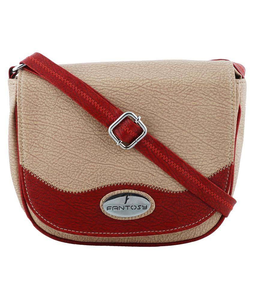 Fantosy Beige P.U. Sling Bag