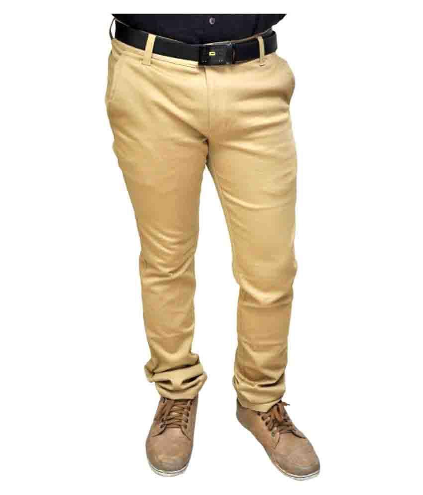 Novowels Khaki Slim Pleated Trousers