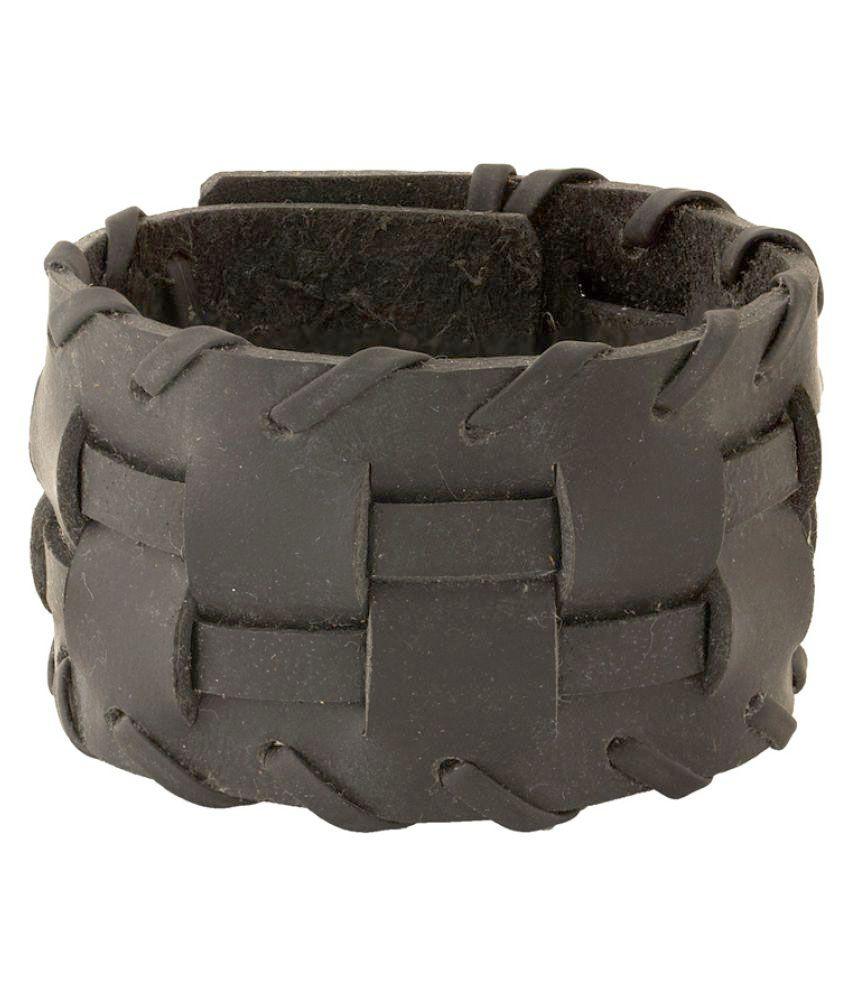 Dare Black Designer PU Leather Bracelet for Men