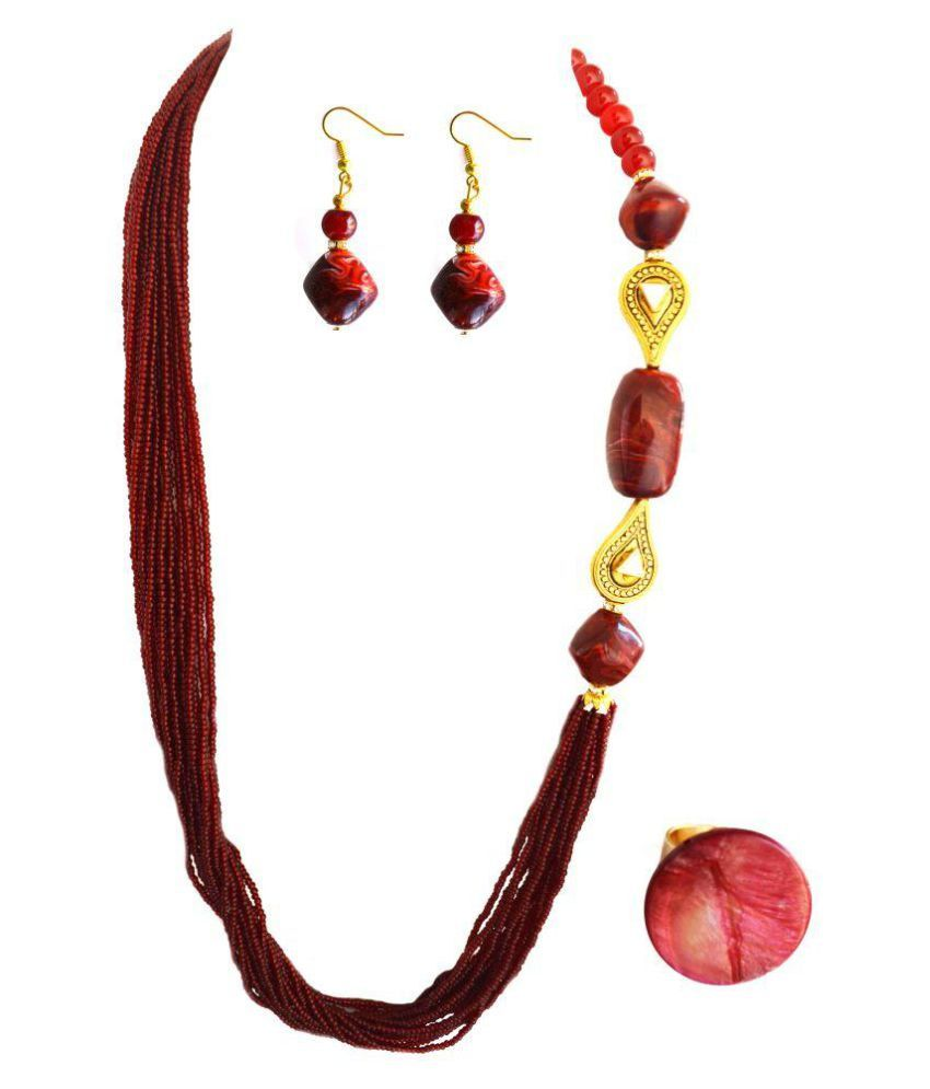 Aashya Mayro Maroon Necklace Set with Ring