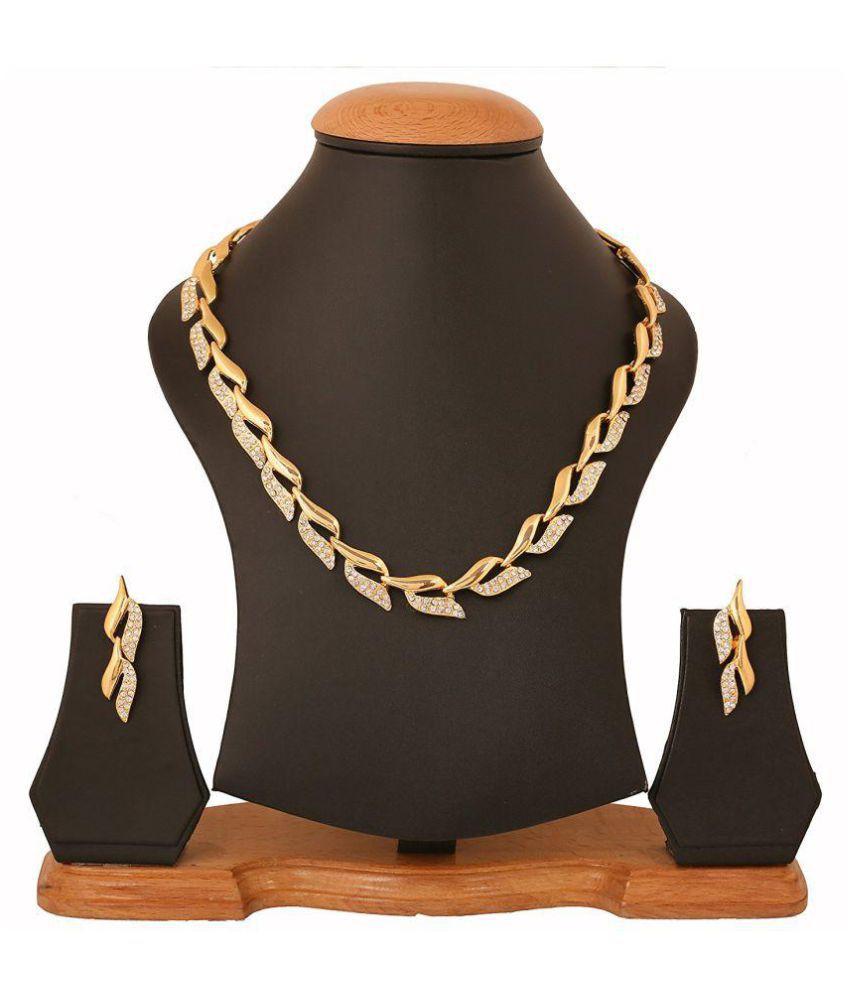 659e51f5028 Sitashi Artificial Fashion Jewellery AD Gold Plated Necklace Set ...
