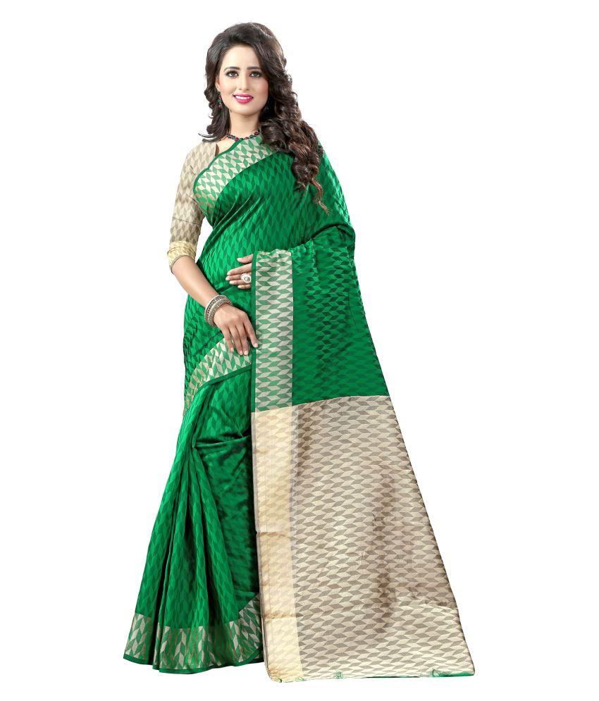 Li Te Ra Green Cotton Silk Saree