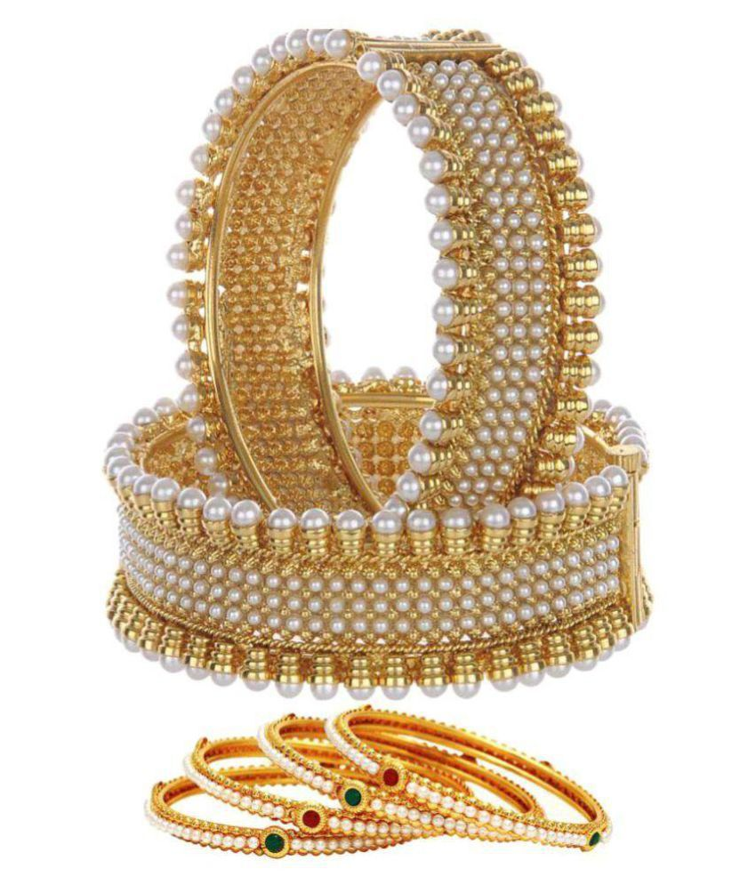Jewels Gold Gold Plated Alloy  Pearl Bangle Combo