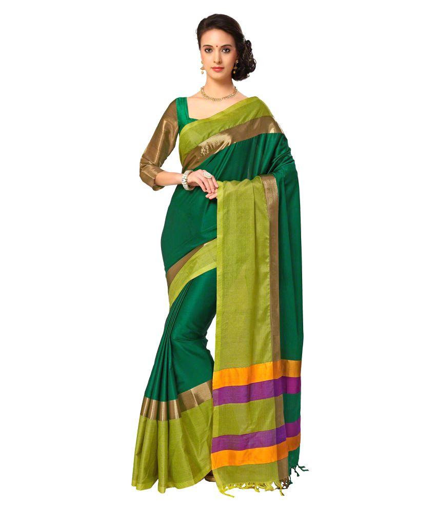 Signature Fashion Green Cotton Silk Saree