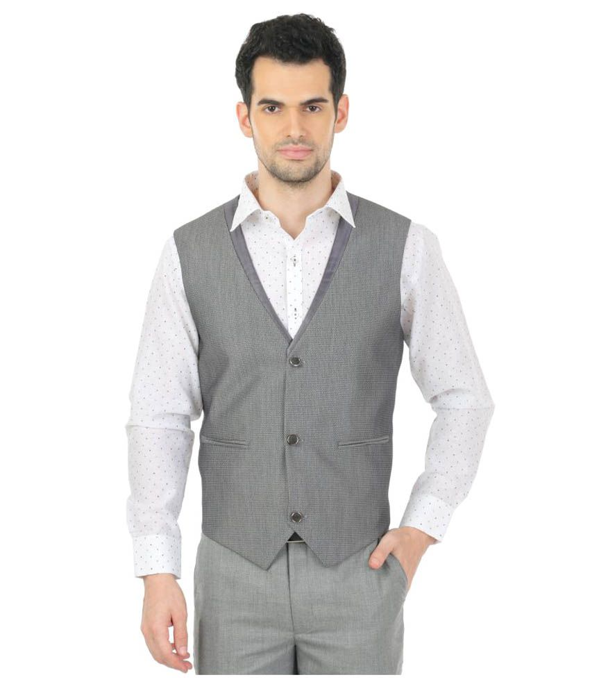 Zido Grey Self Design Party Waistcoats