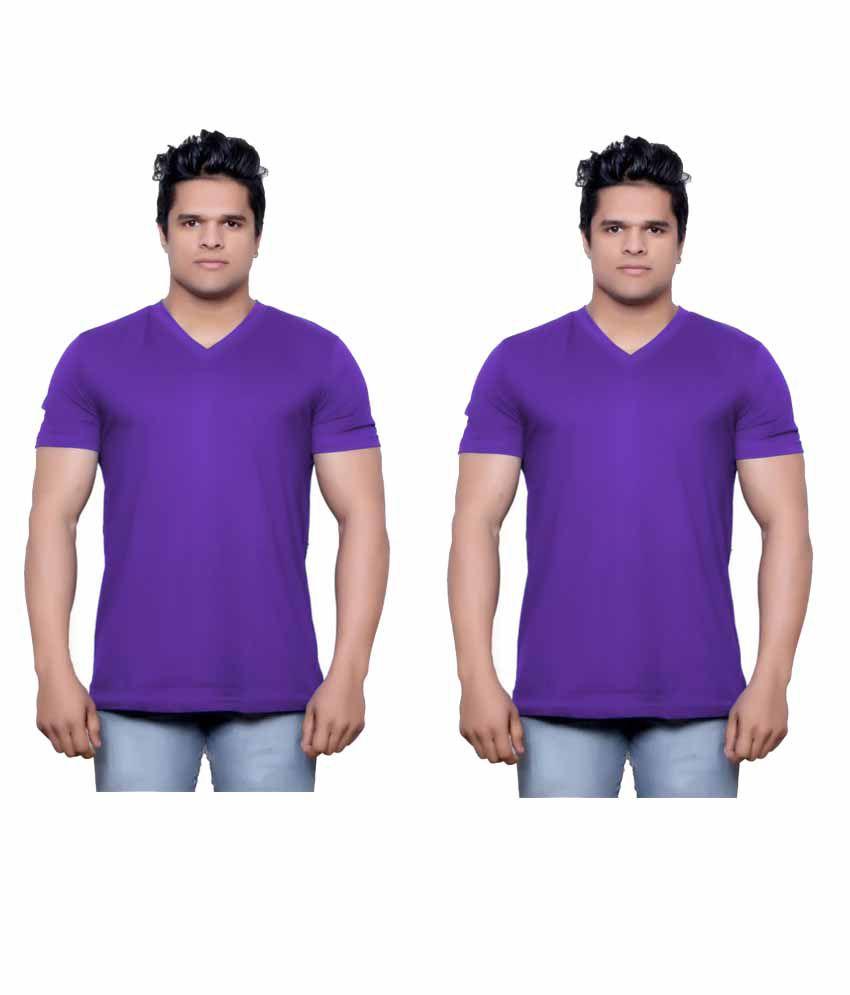 Indiweaves Purple V-Neck T-Shirt Pack of 2