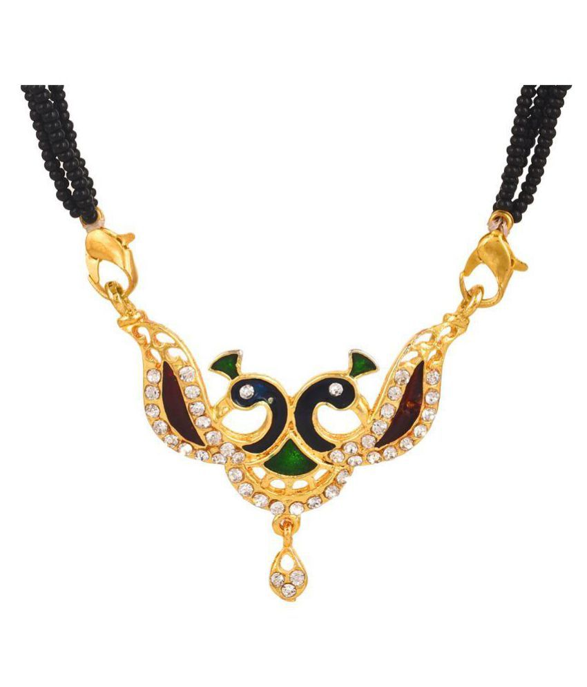 GoldNera American Diamond Peacock Mangalsutra for Women