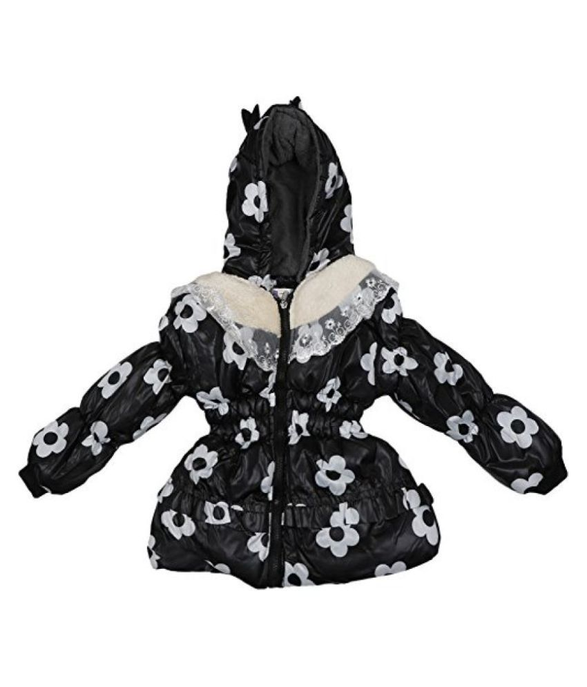 Addyvero Baby Girl's Floral Print Black and White Quilted Jacket