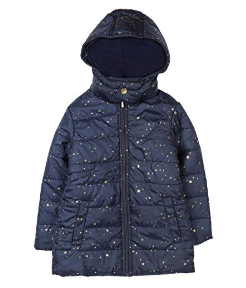 Beebay Girls 100% Polyester Woven Gold Star Printed Jacket (Navy)