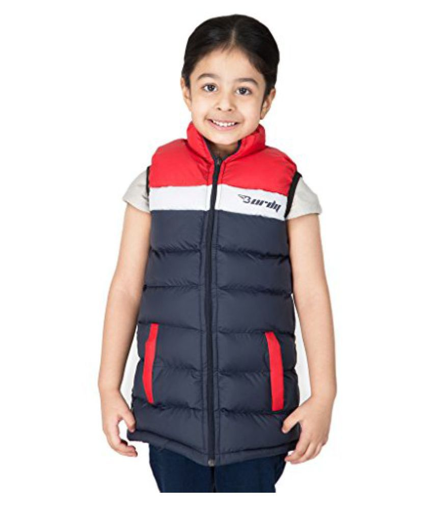 Burdy Sleeveless Hooded Regular Fit Polyester Solid Bomber Jacket for Girl's (3-4) Years