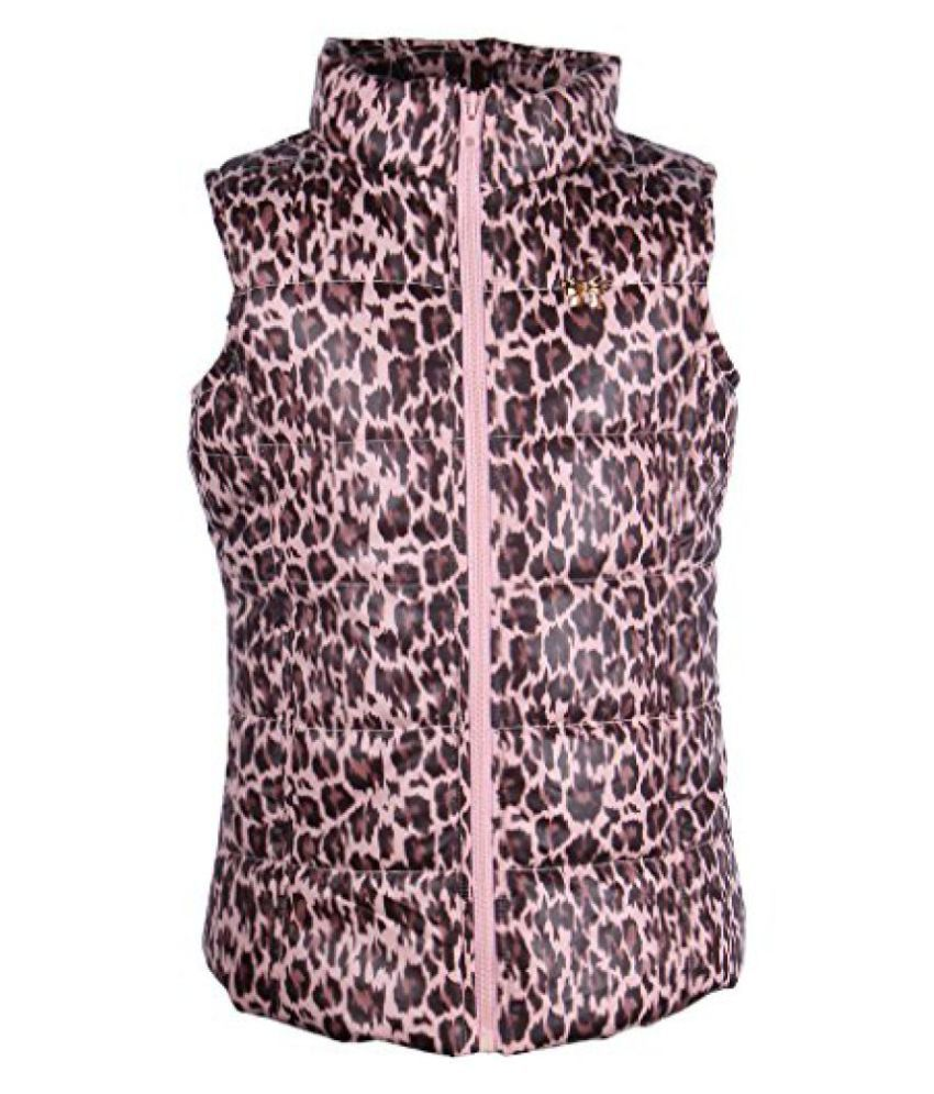 Cutecumber Girls Polyester Animal Print Pink Sleeveless Jacket