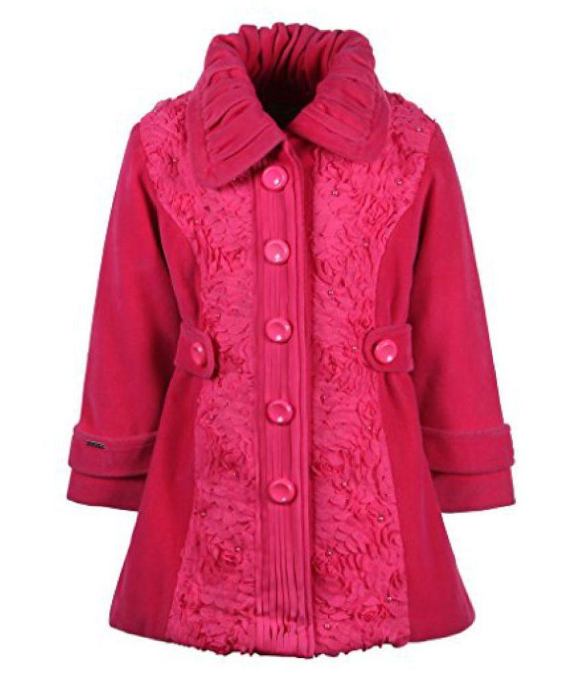 Cutecumber Girls Polyester Embellished Pink Full Sleeve Jacket