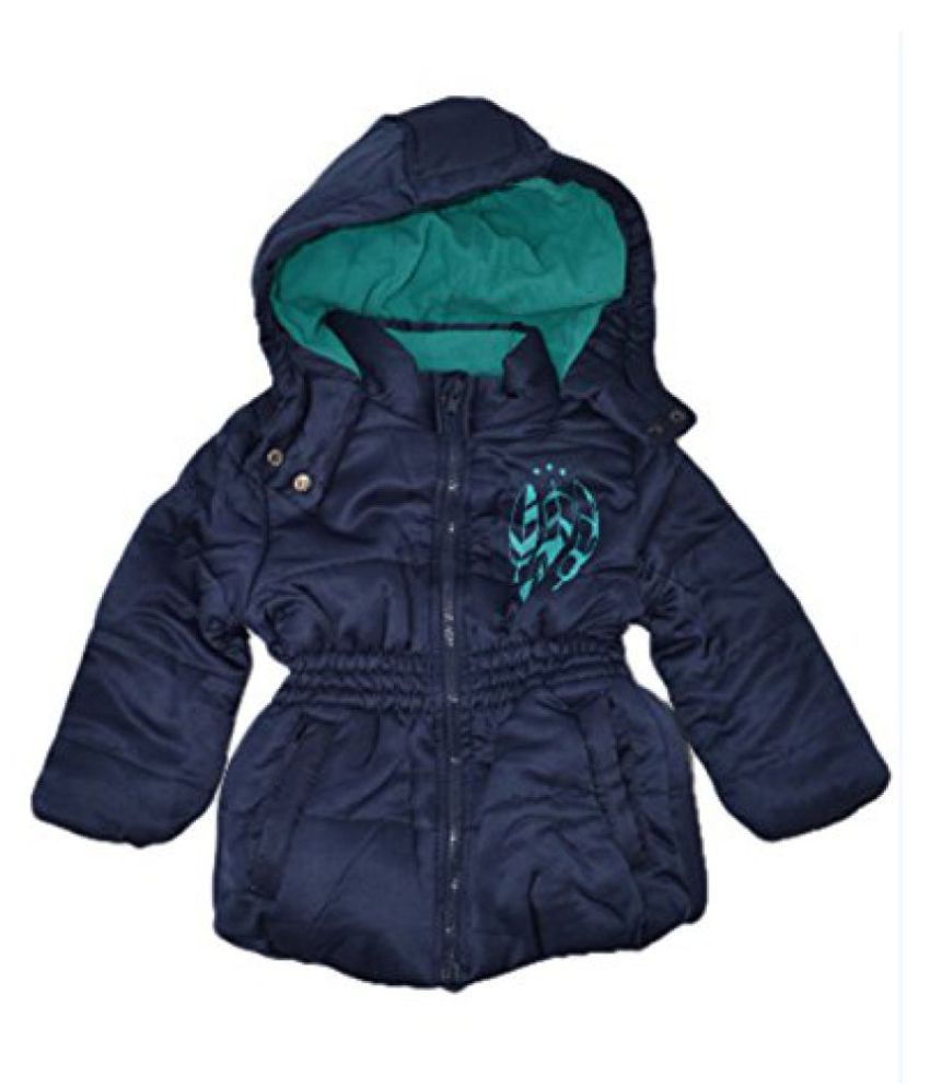 Features Printed Fleece Lined Padded Jacket- Navy