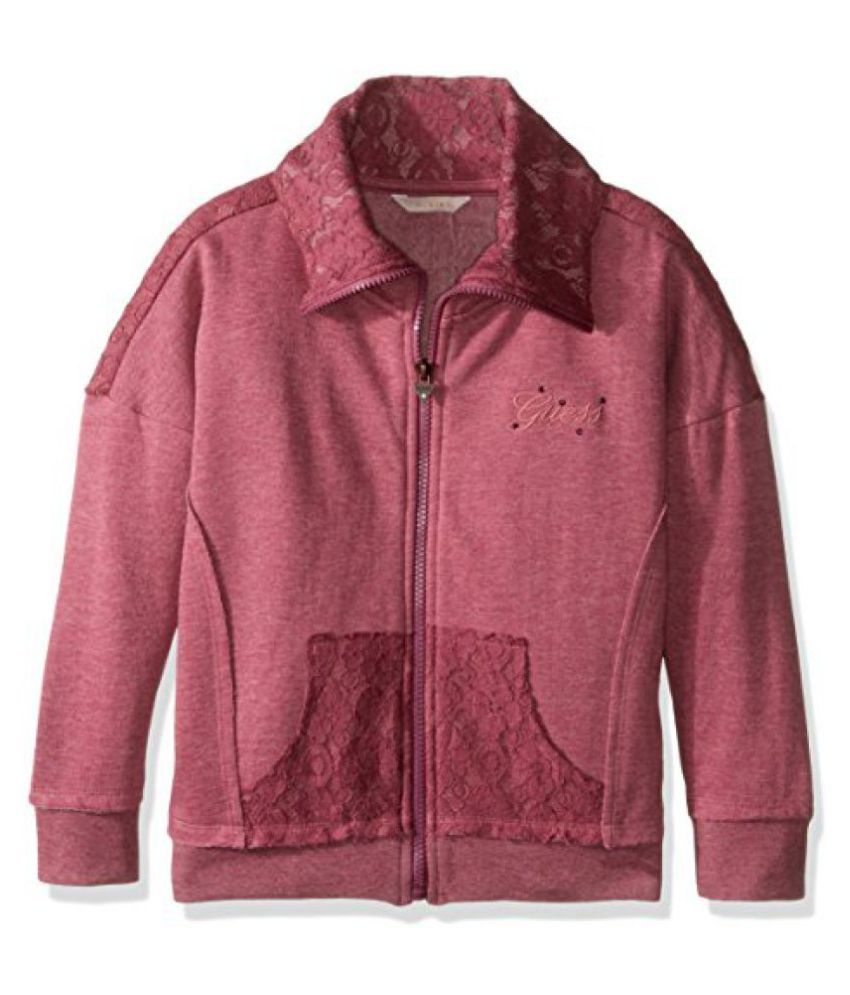 GUESS Girls' Big Girls' Zip Front Fleece Jacket with Lace Overlay
