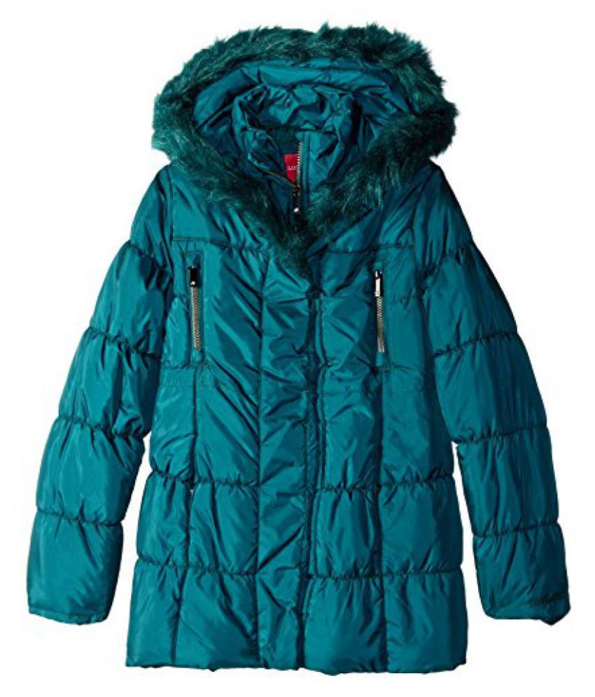 London Fog Big Girls' Shawl Hood Long Puffer Coat