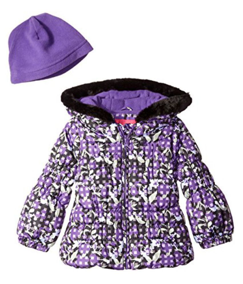 London Fog Girls' Classic Heavyweight Puffer Jacket with Gingham Floral Print