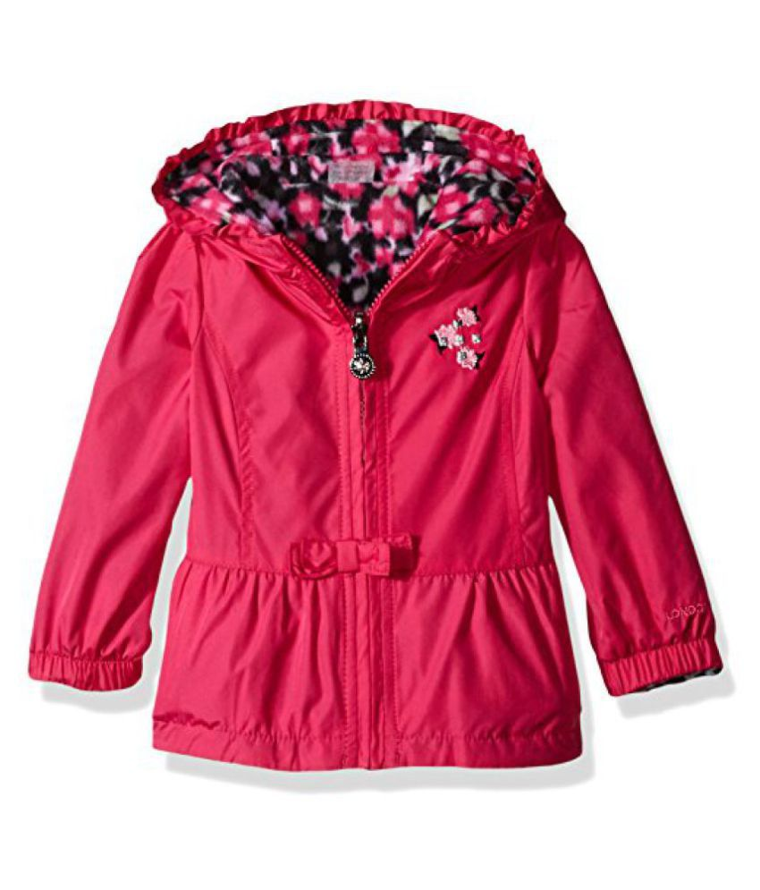 London Fog Girls' Midweight Reversible Poly to Fleece Jacket