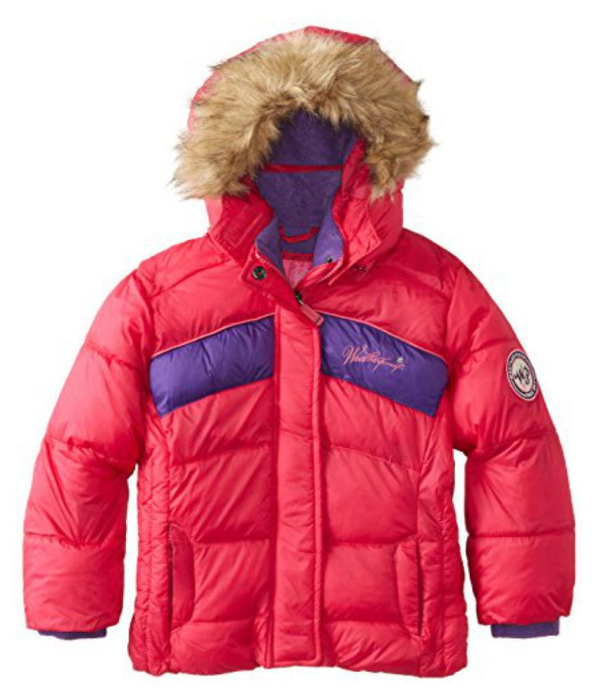 Weatherproof Boys Bubble Jacket With Chest Stripes And Faux Fur Trimmed Hood
