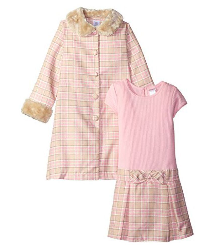 Youngland Girls' Little Girls' Woven Plaid Coat with Faux Fur and Pink Knit to Woven Plaid Dress