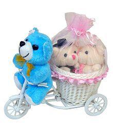 SSVT Multicolour Love Couple Teddy Bear with Bicycle