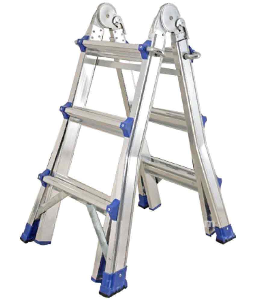 Ambica Aluminium Telescopic Ladder Silver Snapdeal Price