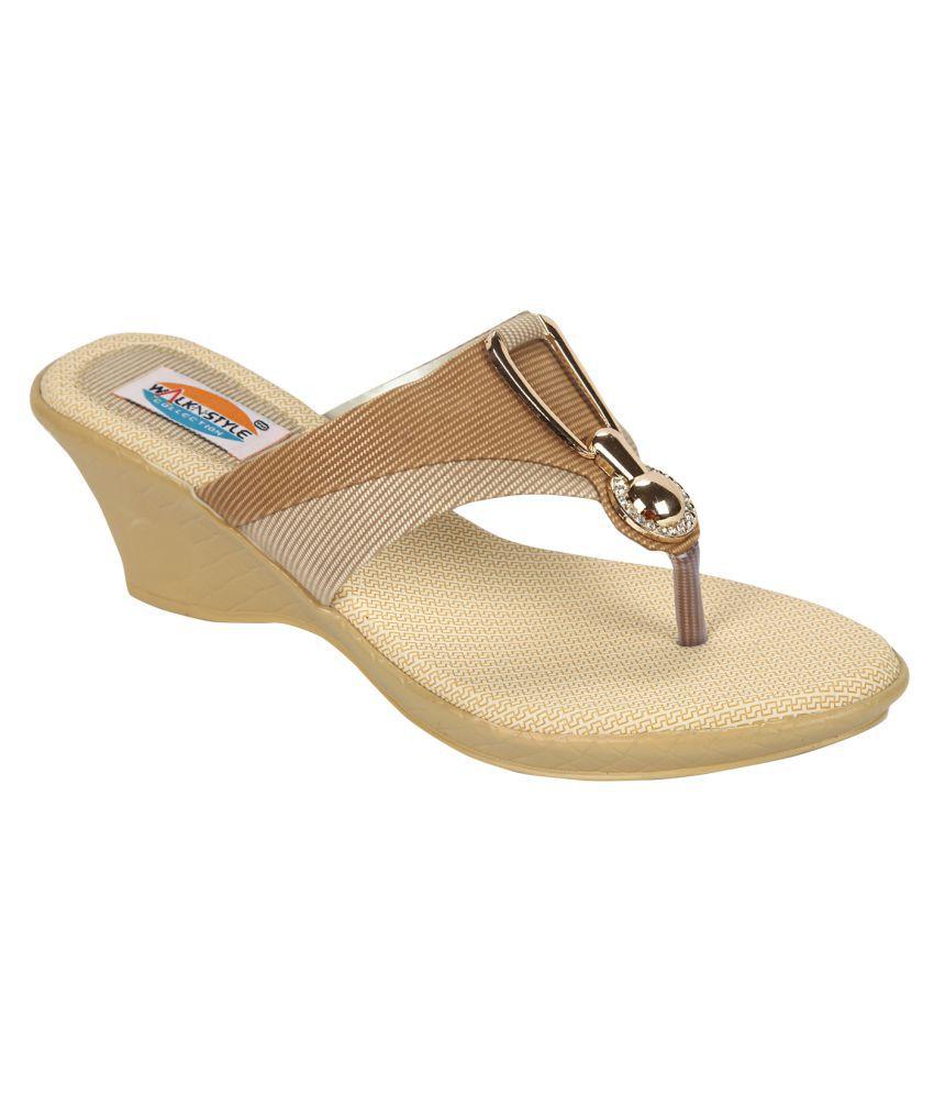 Walk N Style Beige Wedges Heels