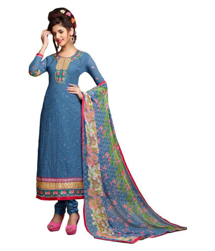94f0388e403 Fabliva Blue Georgette Straight Semi Stitched Suit available at SnapDeal  for Rs.2649