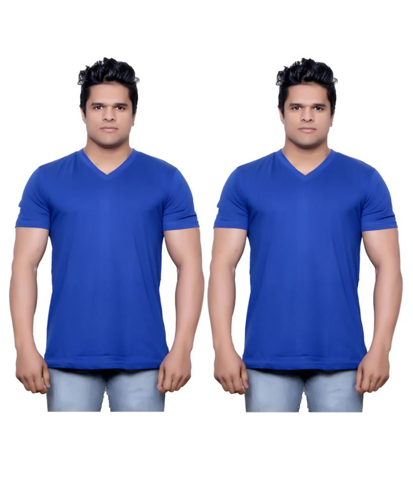 Indiweaves Blue V-Neck T-Shirt Pack of 2