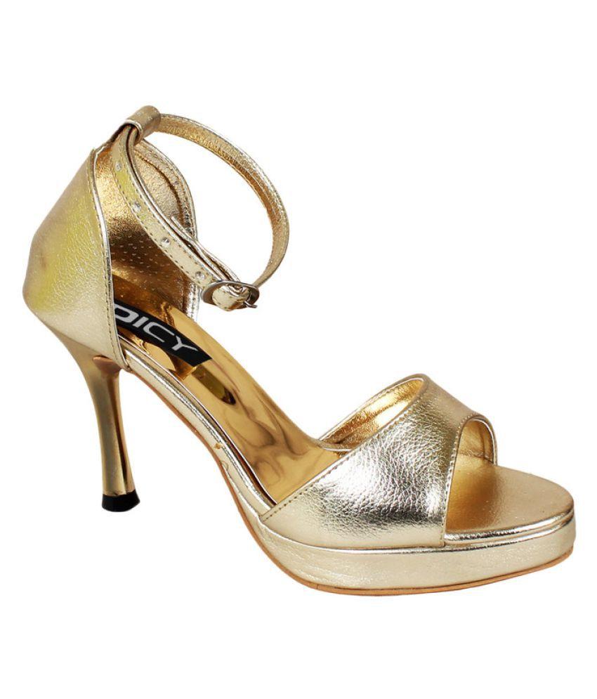 Dicy Gold Kitten Heels