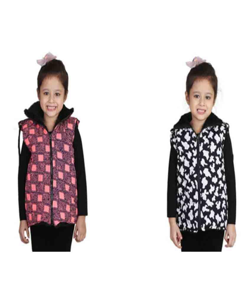 Crazeis Multicolour Sleeveless Jacket For Girl's