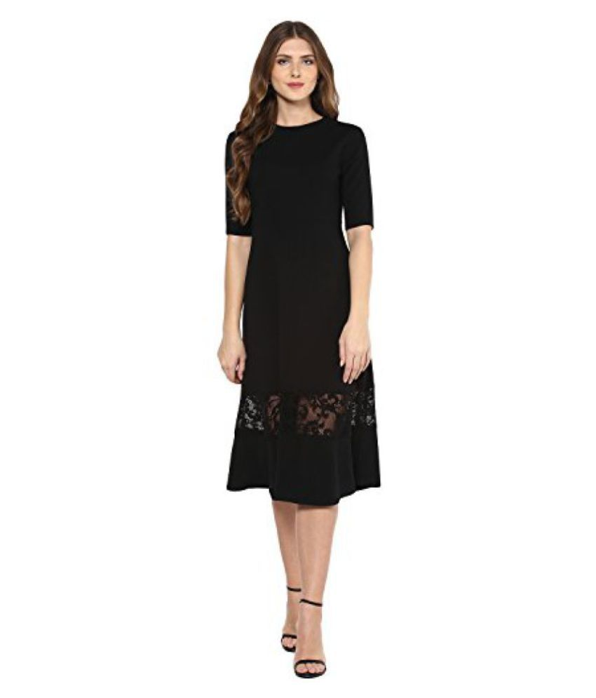 069ccc948bd6 Femella Fashion s Black Lace Insert Midi Dress - Buy Femella Fashion s  Black Lace Insert Midi Dress Online at Best Prices in India on Snapdeal