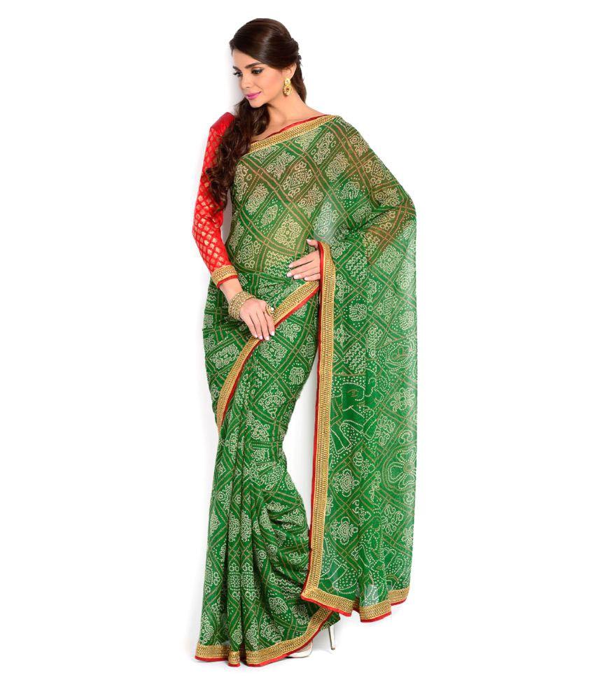 Moiaa Green Chiffon Saree