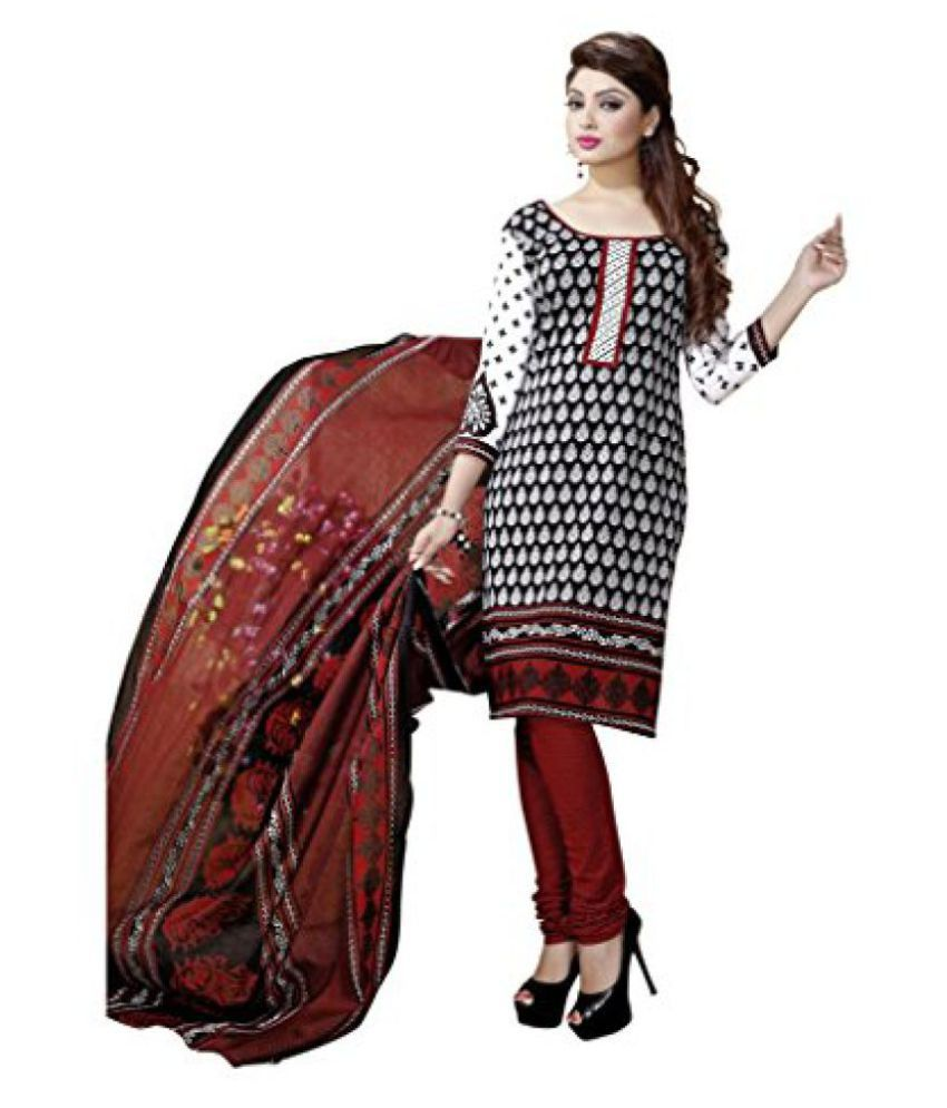 Shree Saree Kunj Black and White Designer Printed Unstitched Salwar Suit