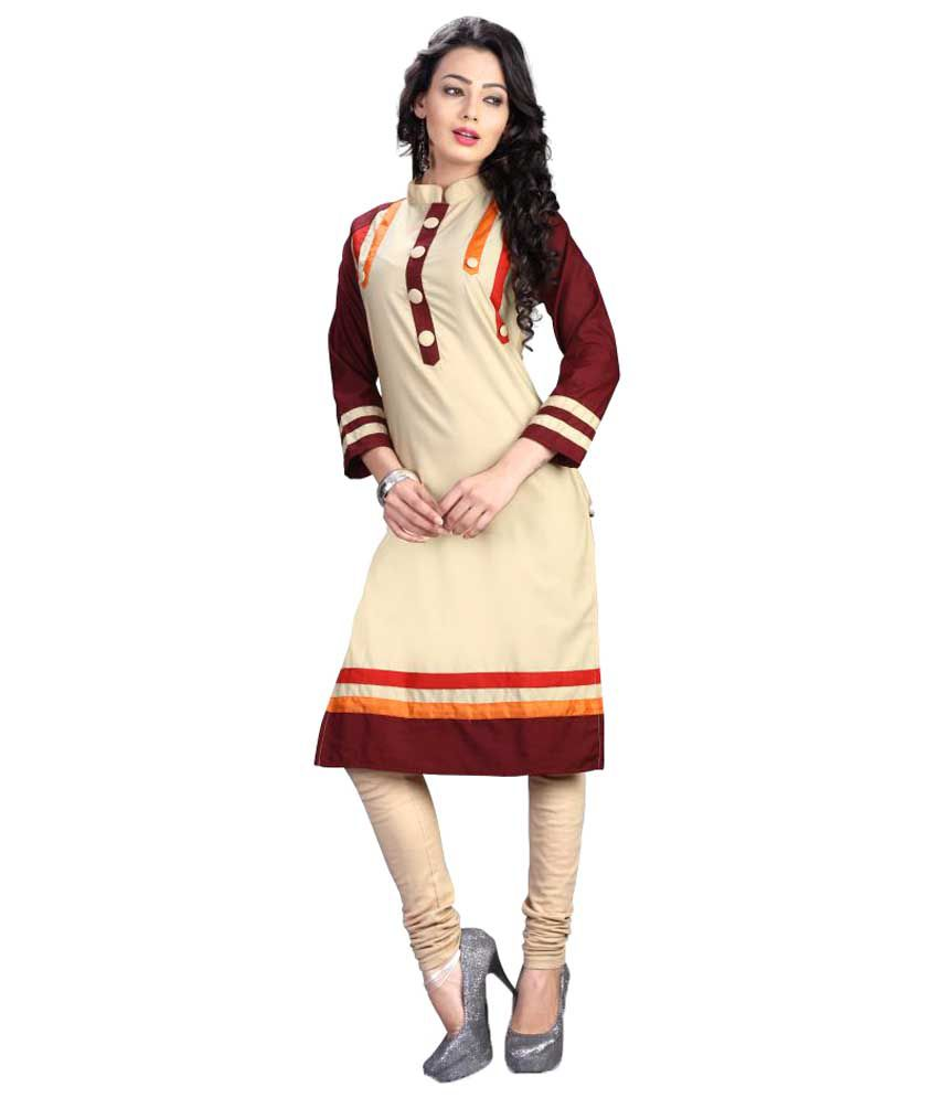 Kuber Enterprise Beige Cotton Straight Kurti