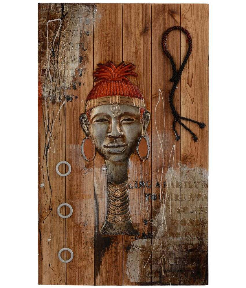 Giftadia 3D Wooden Embossed African Lady Painting Wood Painting with Frame Single Piece