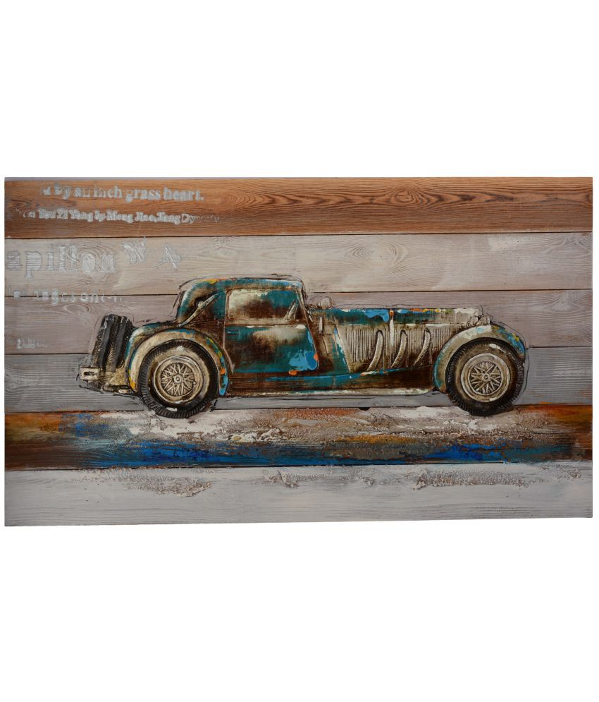 Giftadia 3D Wooden Embossed Vintage Car Wood Painting With Frame