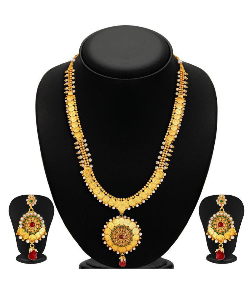 Sukkhi Traditional Gold Plated Necklace Set: Sukkhi Gold Plated Temple Coin Necklace Set