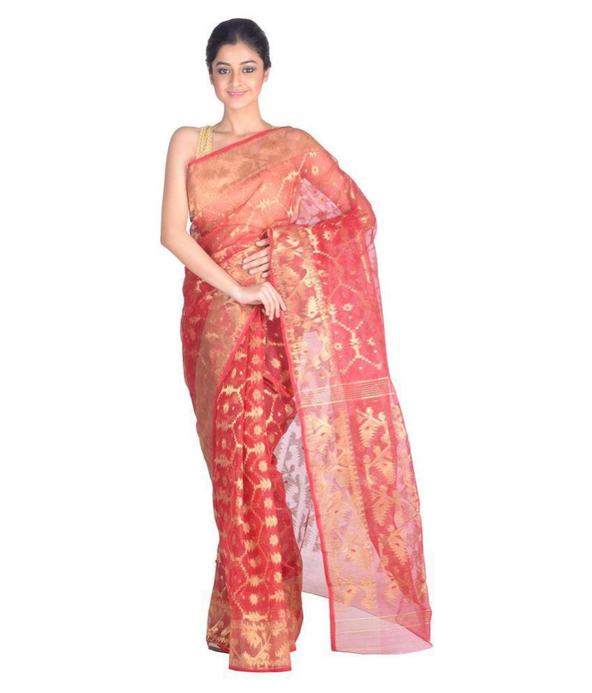 RLBFashion Red Jamdani Saree